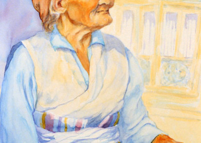 Grandmother and Her Mala Beads Watercolor 15 X 18 $525