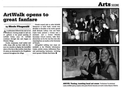 Pique Newsmagazine article for ArtWalk