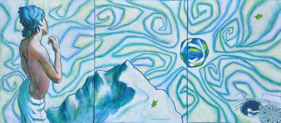 Dreams of Manipura  acrylic 3@9x12 triptych $80