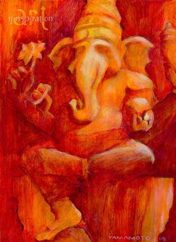 Ganesh in Red   Acrylic 9 X 12 $295