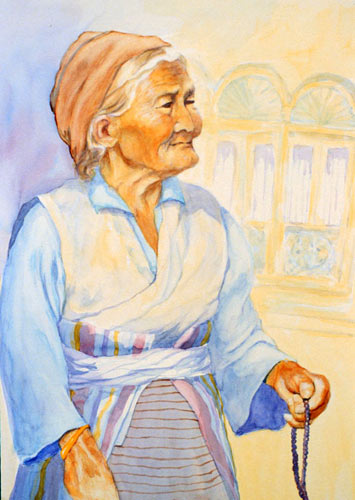 "Grandmother and Her Mala Beads Watercolor 15 X 18"" $525"