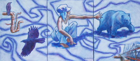 "Our Blessings to Protect 3@ 9 X 12"" acrylic on canvas triptych $700"